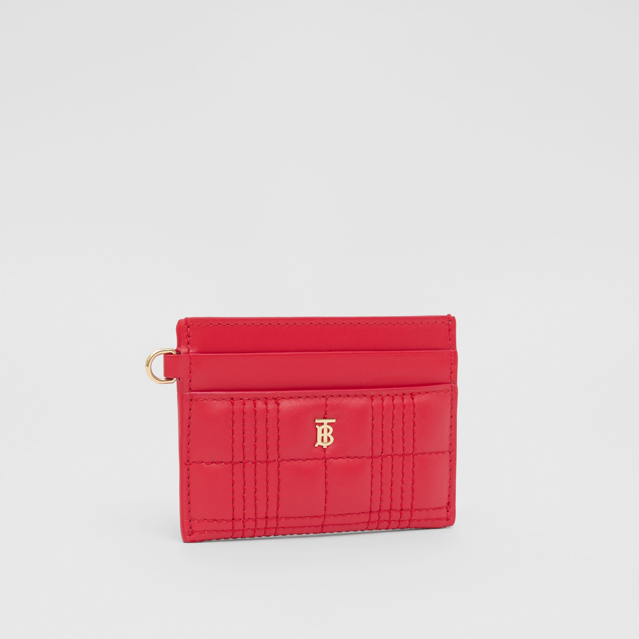 Monogram Motif Quilted Lambskin Card Case in Bright Red - Women | Burberry - 4