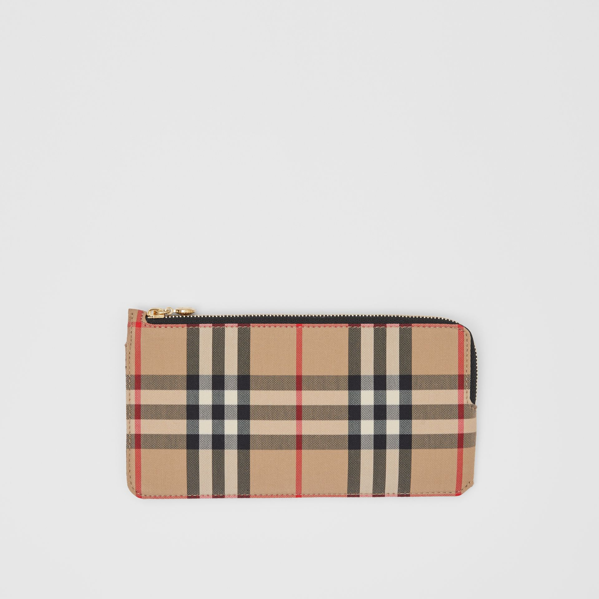 Vintage Check and Leather Phone Wallet in Black - Women | Burberry - gallery image 0