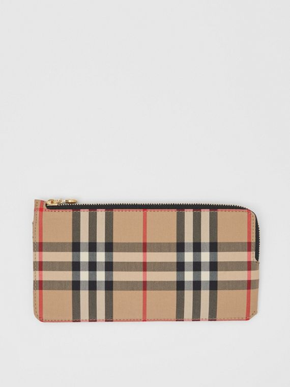 Vintage Check and Leather Phone Wallet in Black