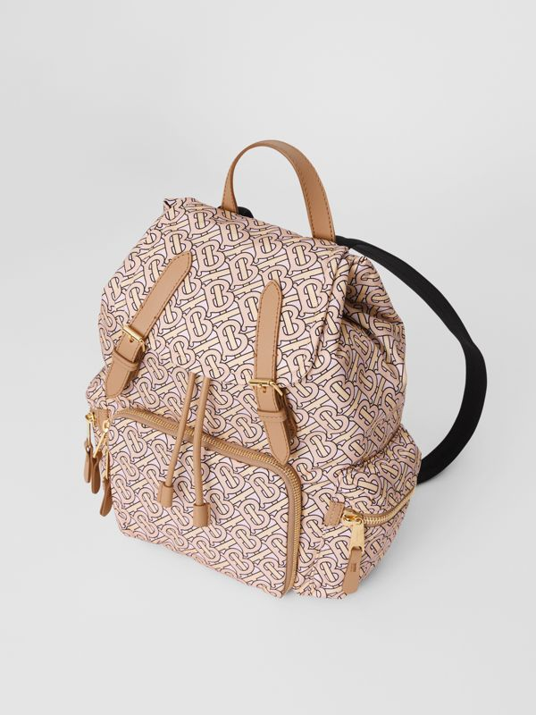 The Medium Rucksack in Monogram Print Nylon in Blush - Women | Burberry United Kingdom - cell image 3