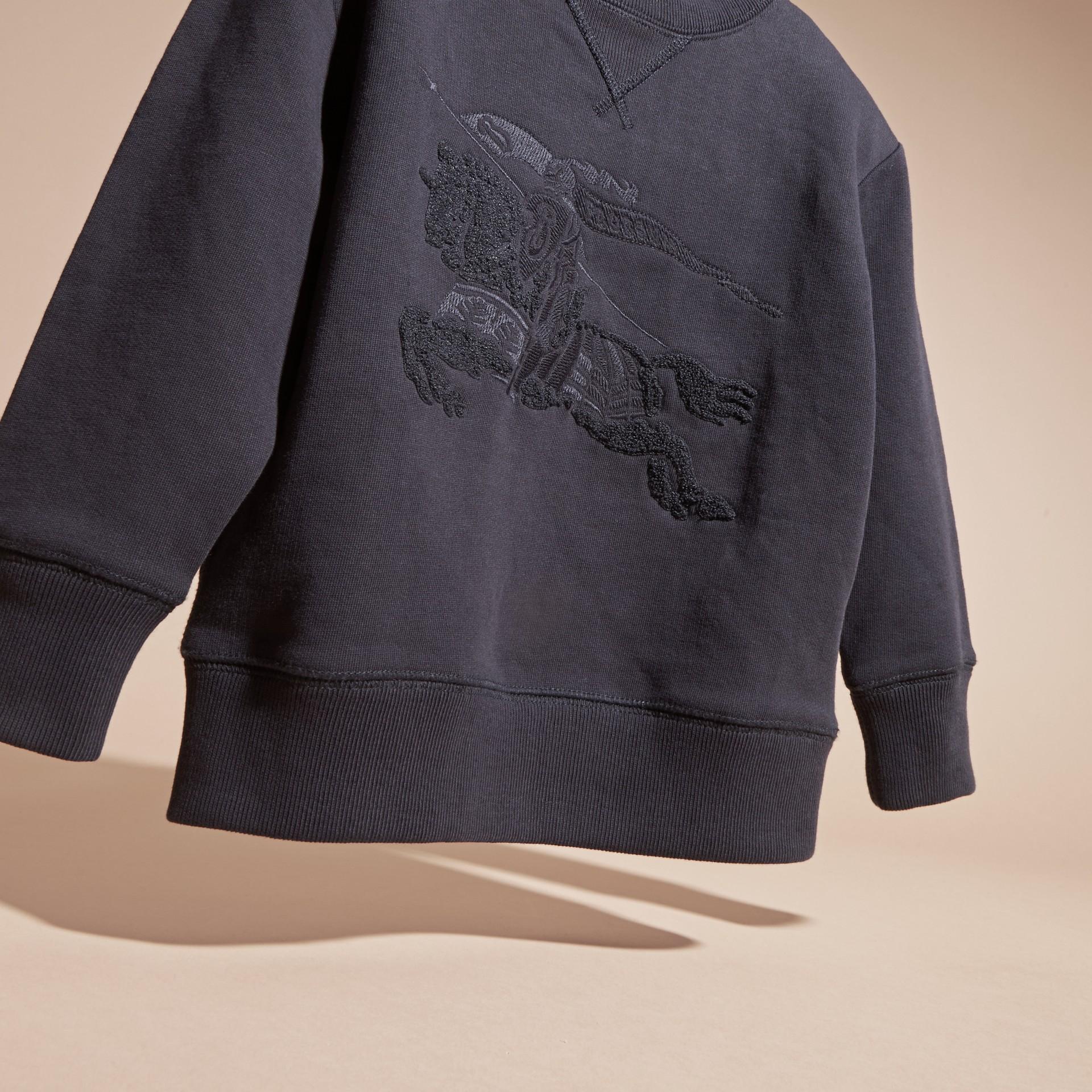 Dark navy Equestrian Knight Detail Cotton Sweatshirt Dark Navy - gallery image 3
