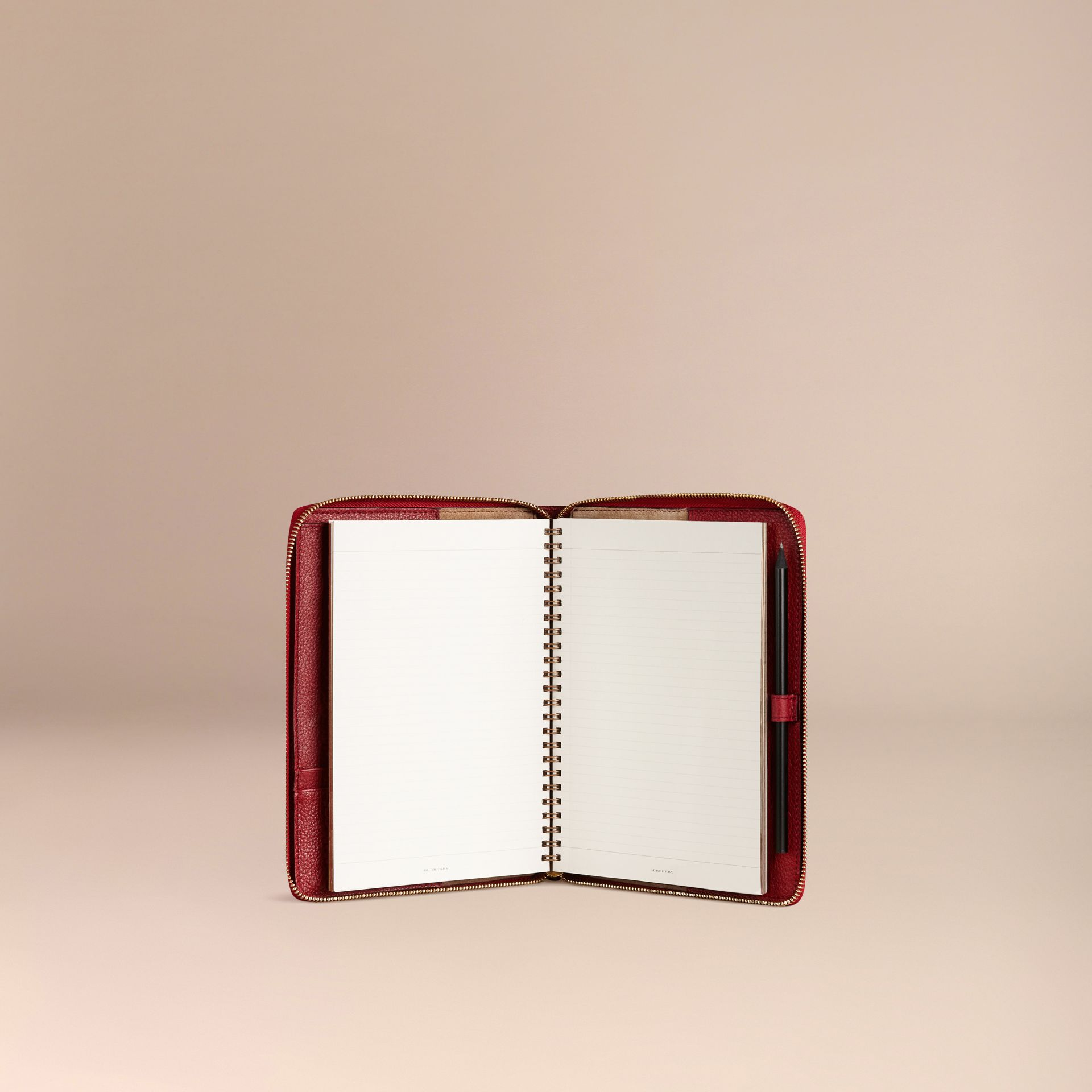 Ziparound Grainy Leather A5 Notebook in Parade Red - gallery image 3