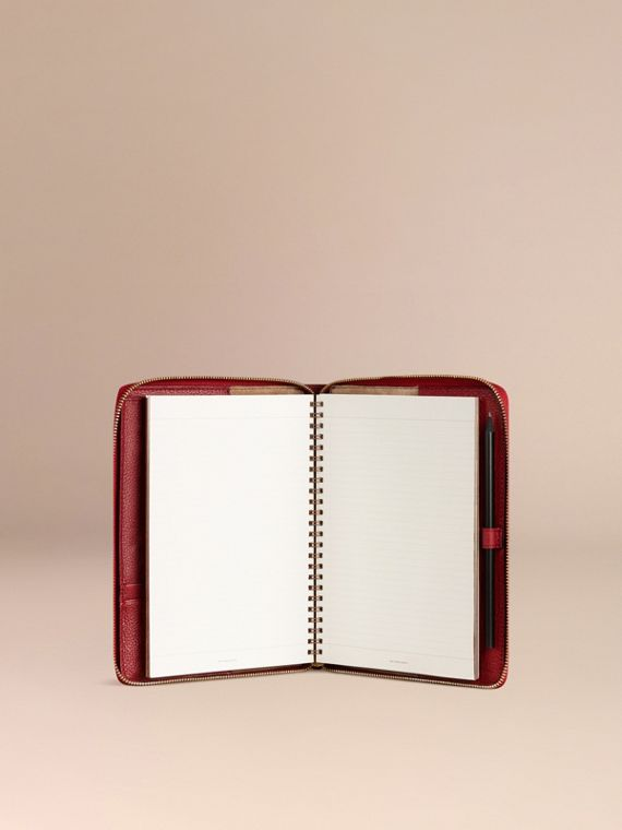 Ziparound Grainy Leather A5 Notebook in Parade Red | Burberry - cell image 2