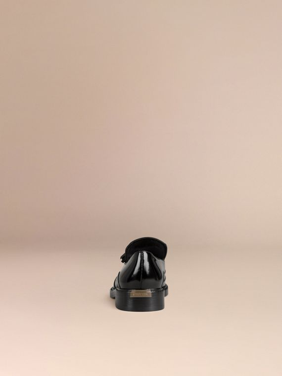 Black Tassel Detail Leather Loafers - cell image 3