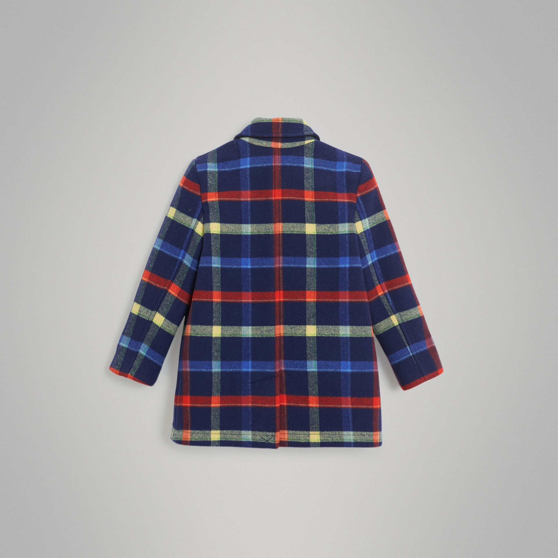 Check Double-faced Wool Coat in Navy - Children | Burberry - gallery image 3