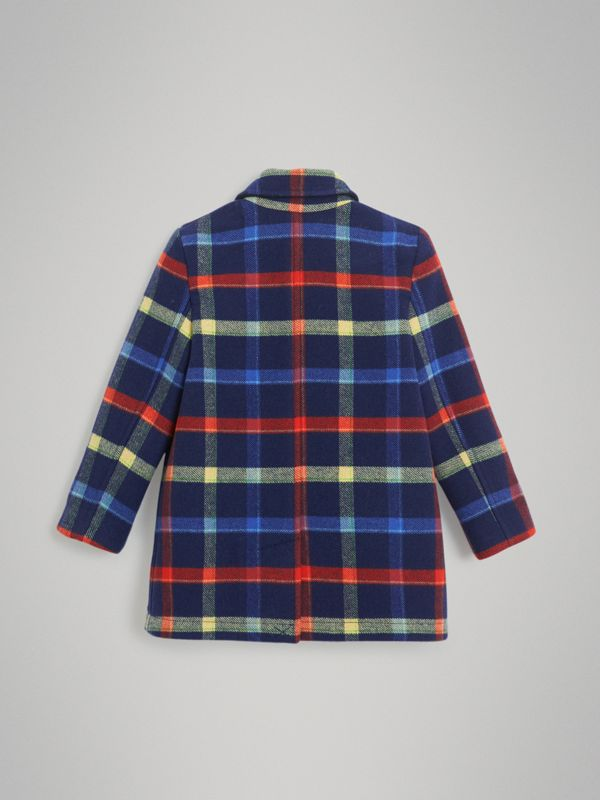Check Double-faced Wool Coat in Navy - Children | Burberry - cell image 3