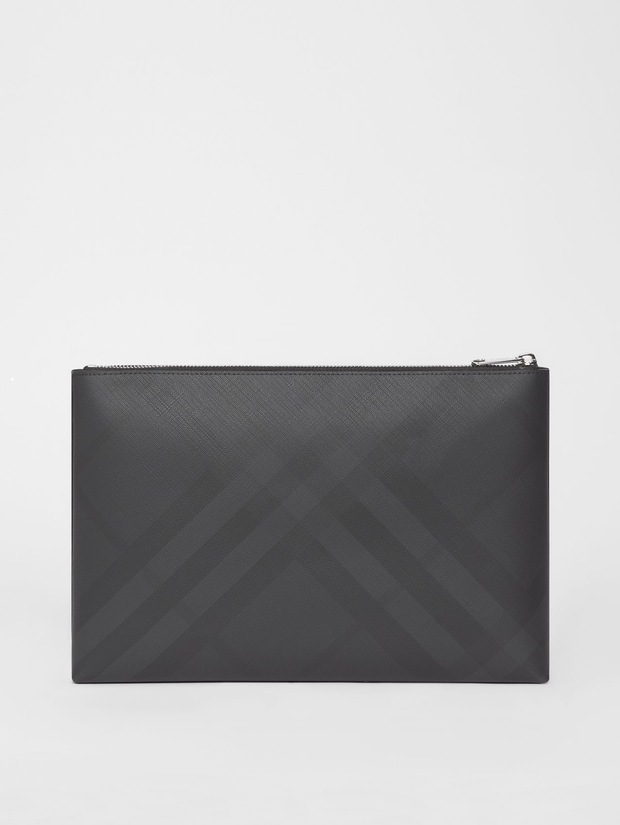 London Check Zip Pouch in Dark Charcoal
