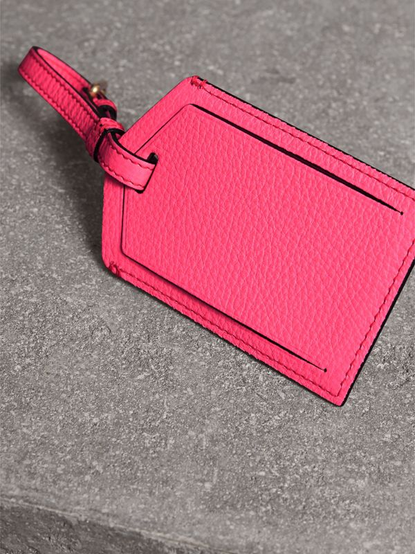Embossed Leather Luggage Tag in Bright Pink | Burberry - cell image 2