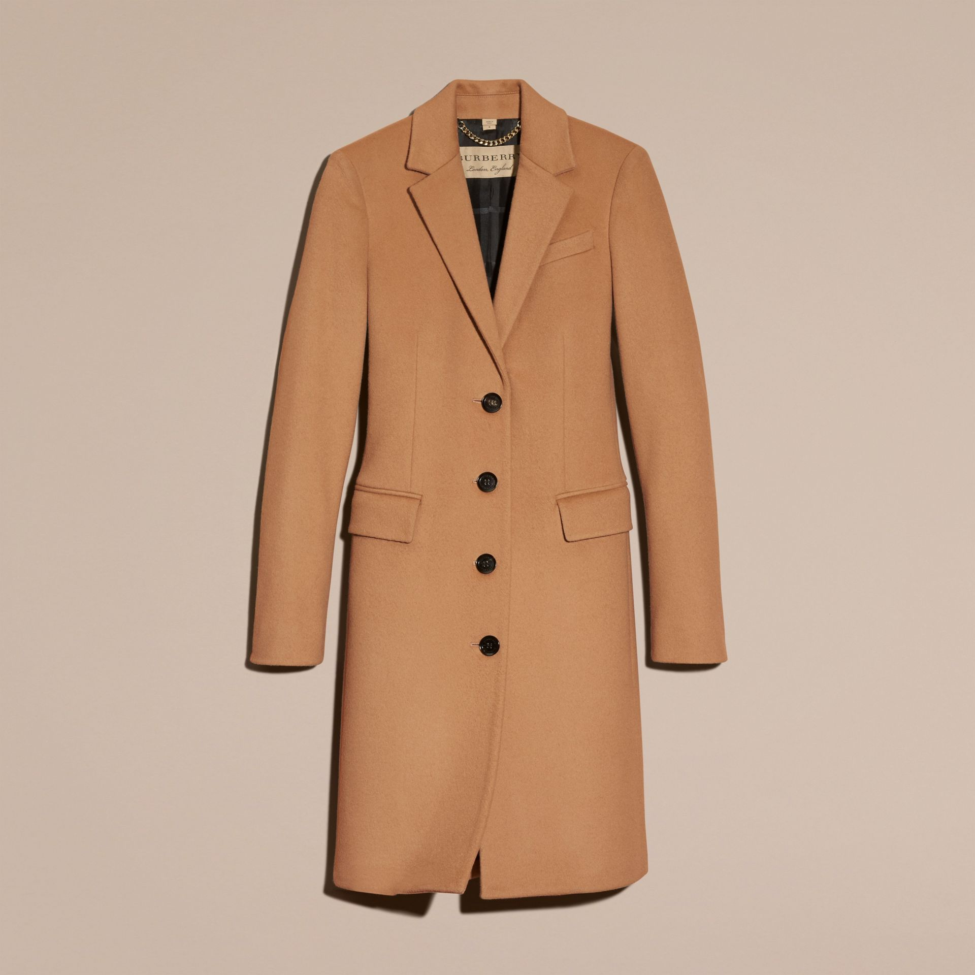 Wool Cashmere Tailored Coat in Camel - gallery image 4