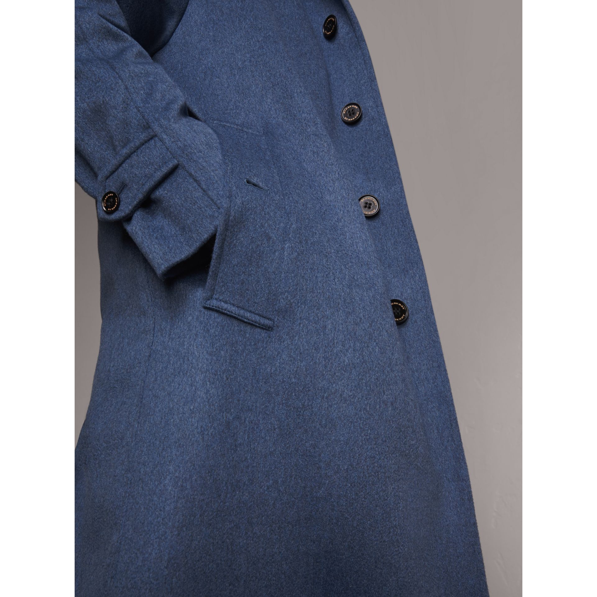 Cashmere Car Coat in Steel Blue Melange - Men | Burberry Singapore - gallery image 5