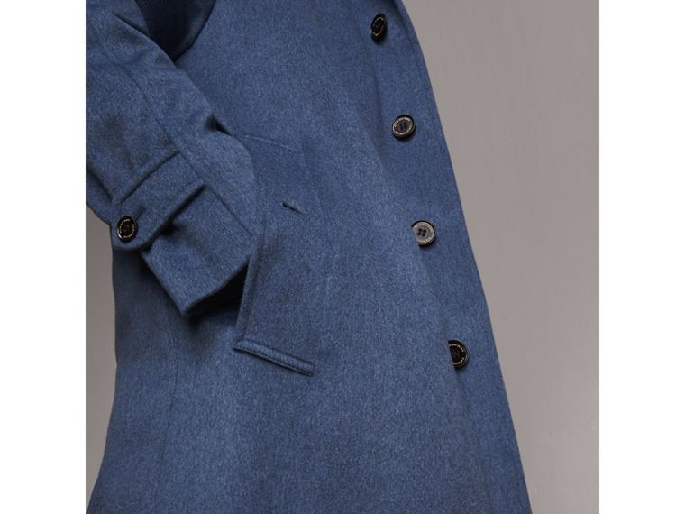 Cashmere Car Coat in Steel Blue Melange - Men | Burberry Singapore - cell image 4