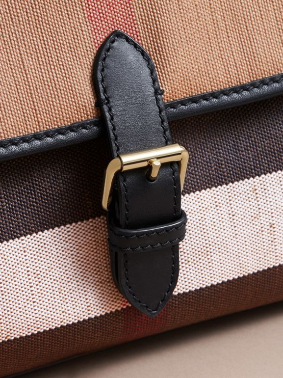 Canvas Check and Leather Baby Changing Shoulder Bag in Black - Children | Burberry United Kingdom - cell image 1
