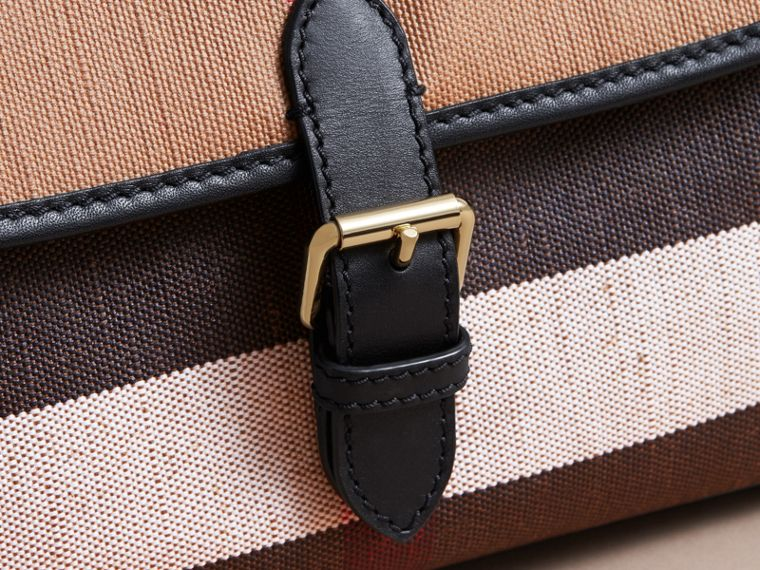 Canvas Check and Leather Baby Changing Shoulder Bag in Black - Boy | Burberry - cell image 1