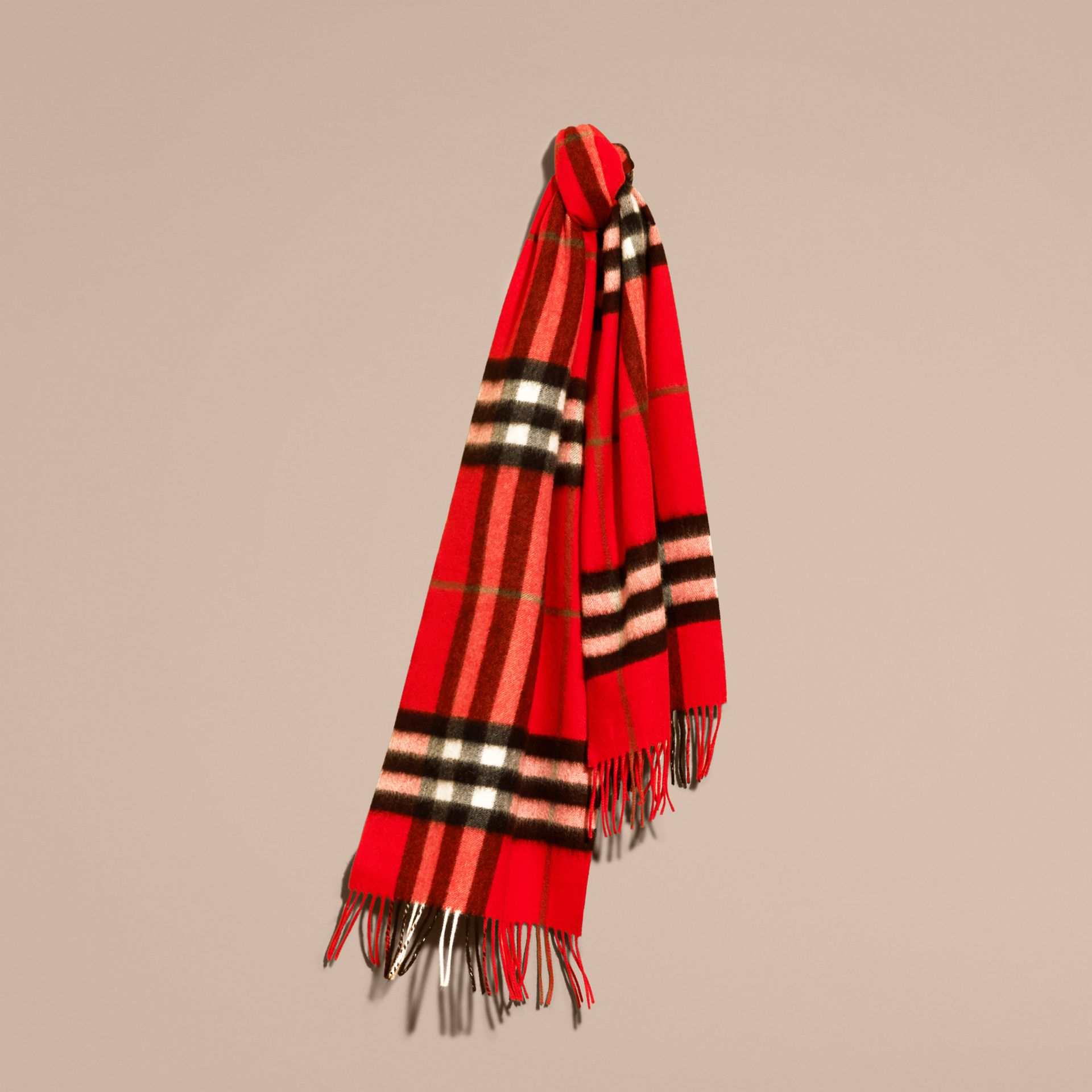 The Classic Cashmere Scarf in Check  Bright Orange Red - gallery image 6