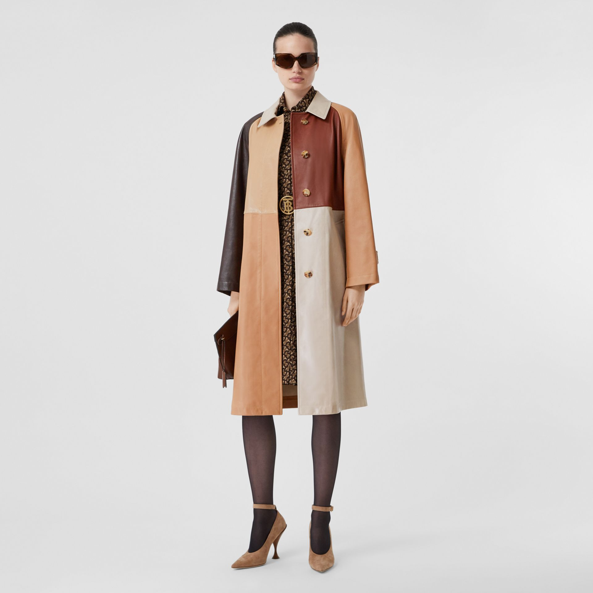 Patchwork Lambskin and Leather Car Coat in Biscuit - Women | Burberry - gallery image 0