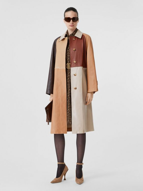 Patchwork Lambskin and Leather Car Coat in Biscuit