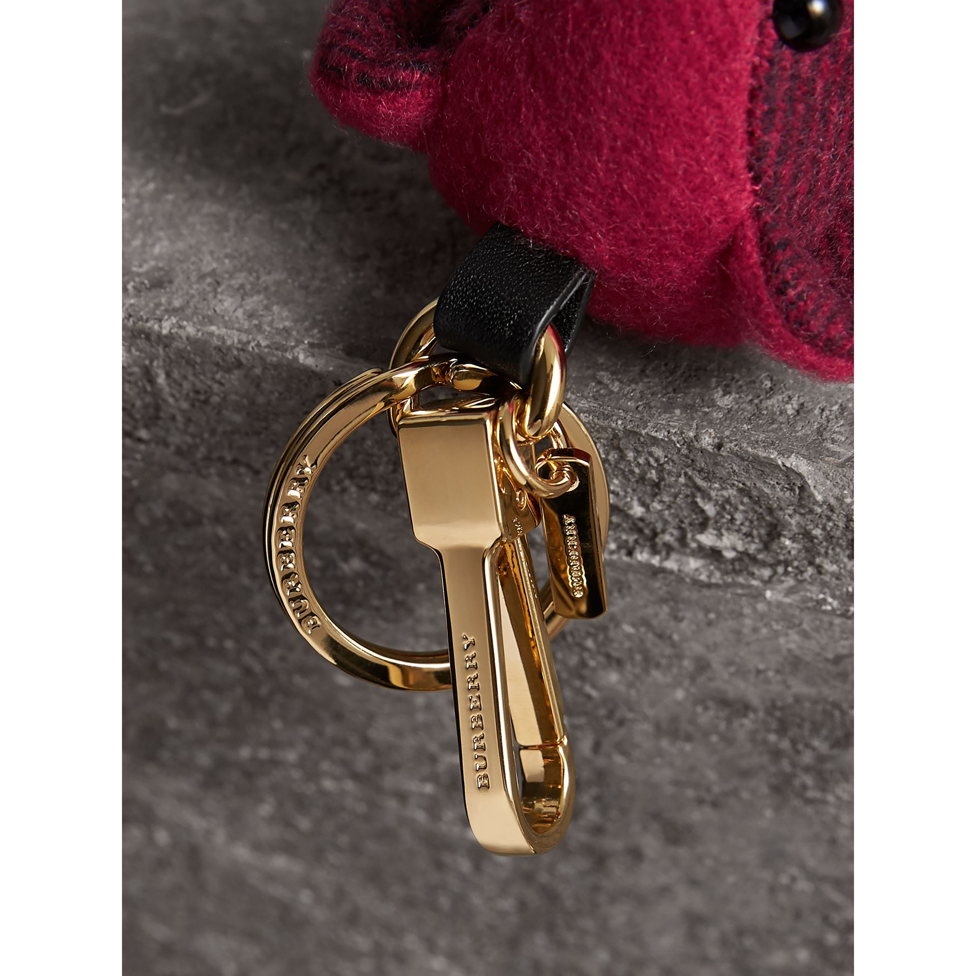 Thomas Bear Charm in Check Cashmere in Fuchsia Pink | Burberry Canada - gallery image 1