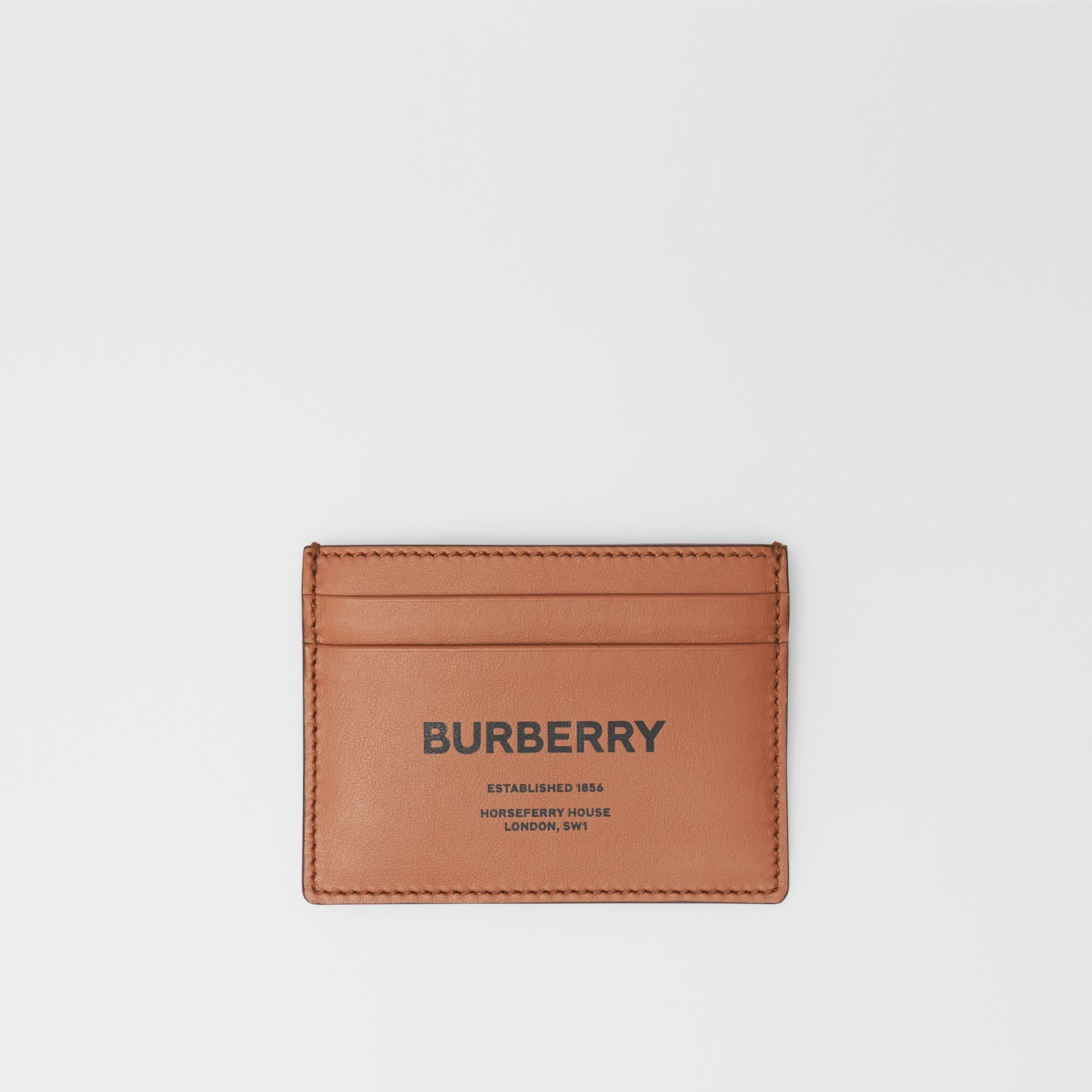 Horseferry Print Leather Card Case in Malt Brown - Men | Burberry United Kingdom - gallery image 0
