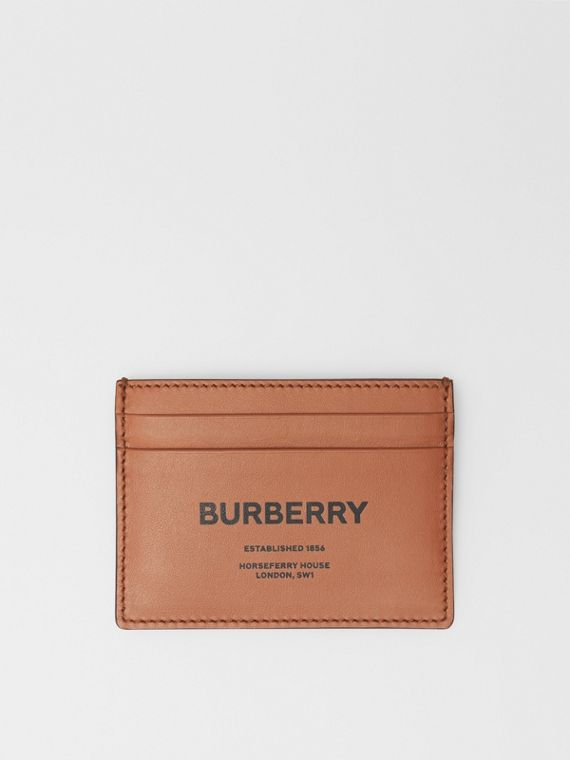 Horseferry Print Leather Card Case in Malt Brown