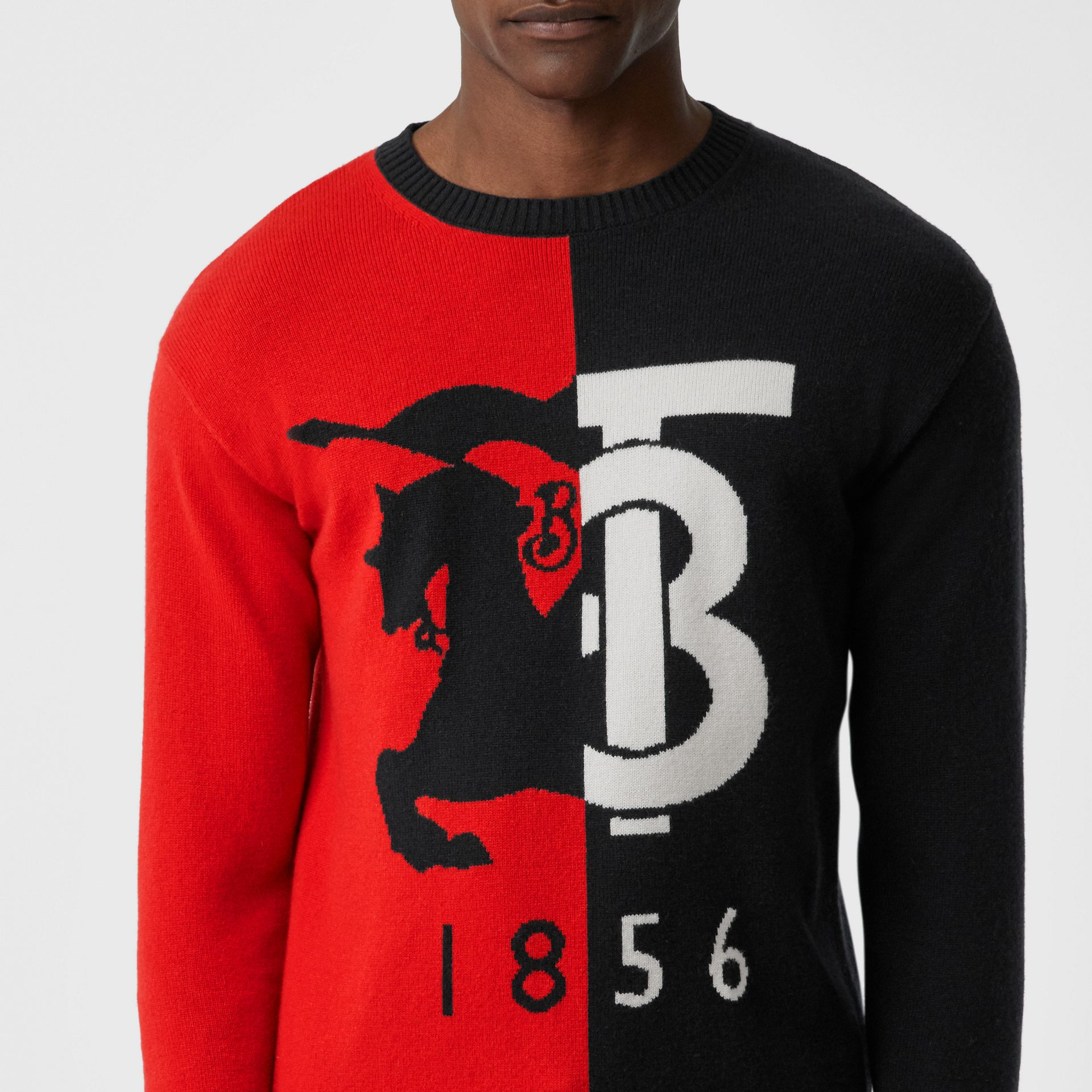Contrast Logo Graphic Intarsia Cashmere Sweater in Black - Men | Burberry - gallery image 1