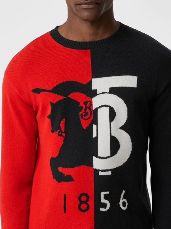 Contrast Logo Graphic Intarsia Cashmere Sweater in Black - Men | Burberry - cell image 1