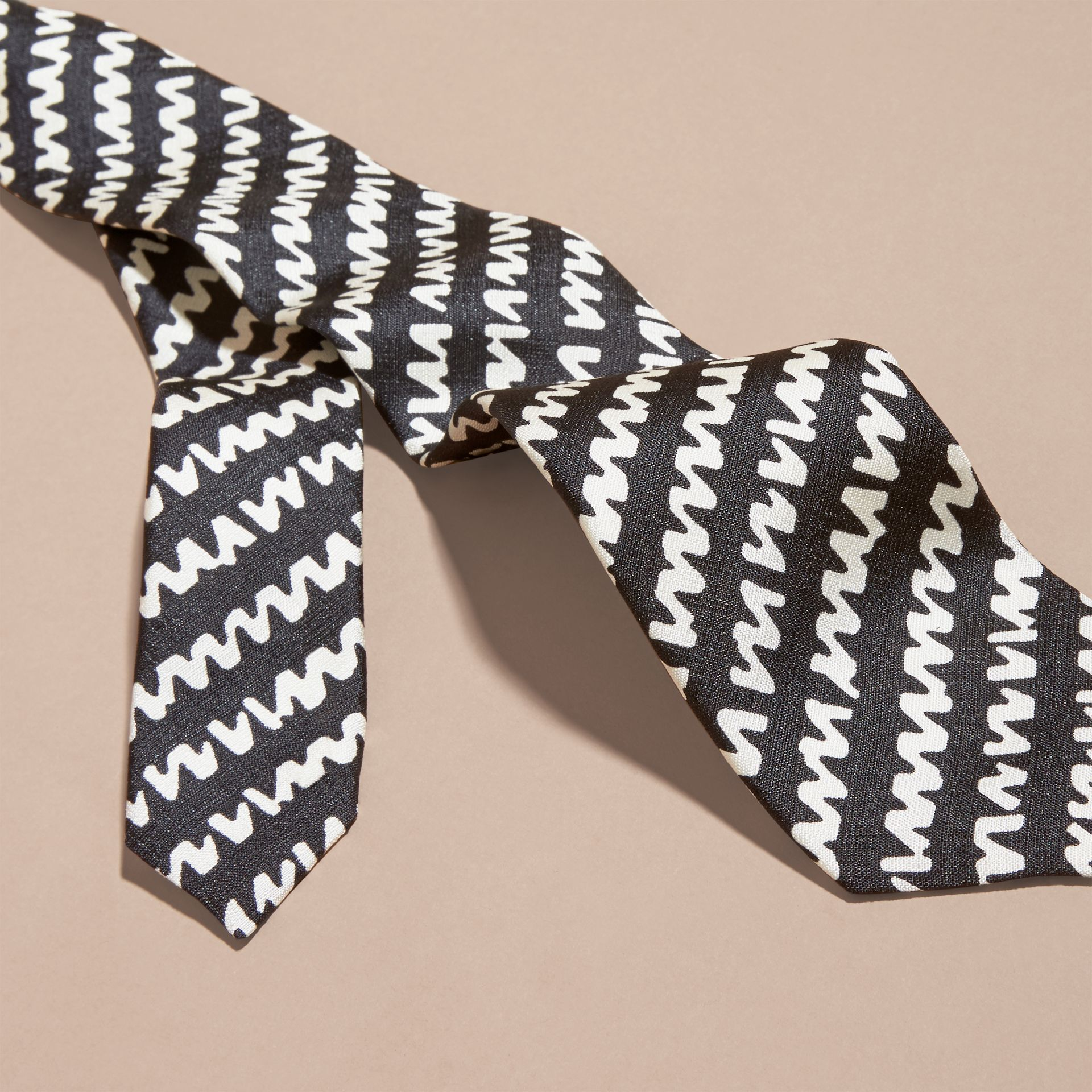 Black Slim Cut Graphic Print Silk Tie - gallery image 2