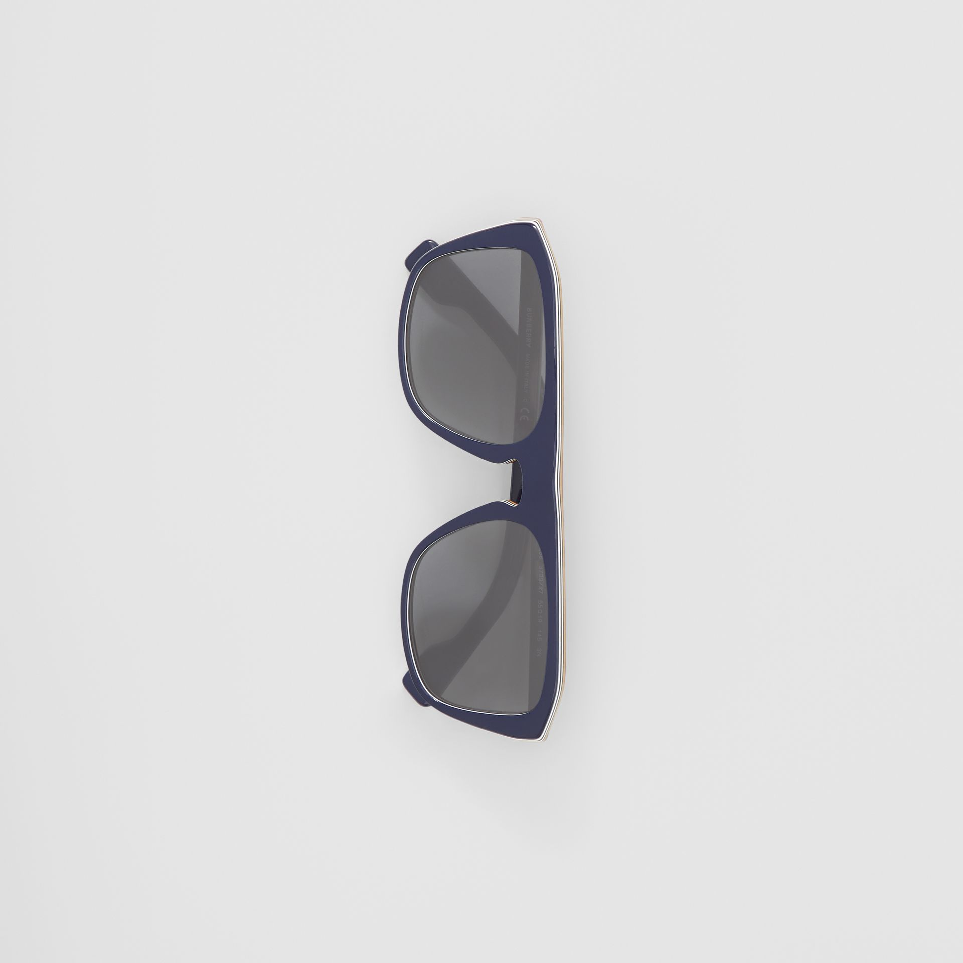Icon Stripe Detail Square Frame Sunglasses in Blue - Men | Burberry United Kingdom - gallery image 3