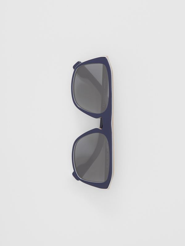 Icon Stripe Detail Square Frame Sunglasses in Blue - Men | Burberry - cell image 3