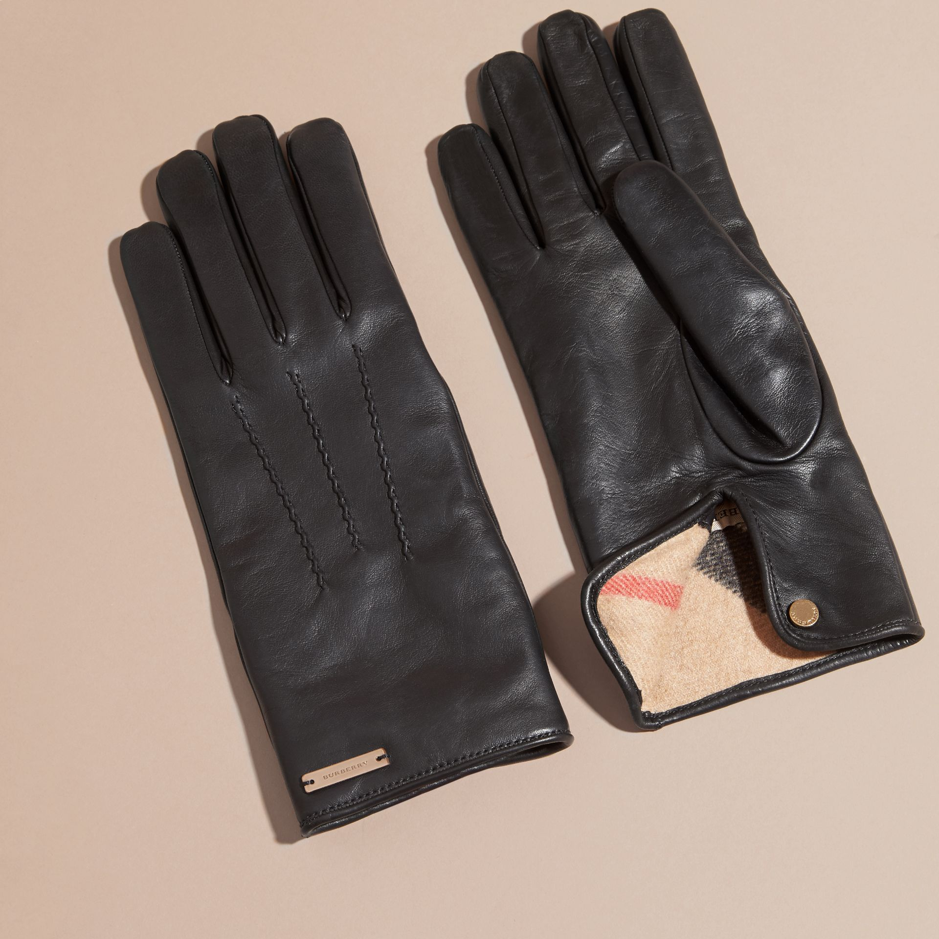 Black Cashmere Lined Lambskin Gloves Black - gallery image 3