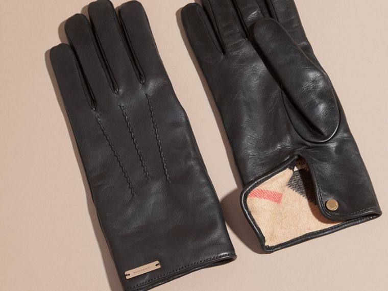 Black Cashmere Lined Lambskin Gloves Black - cell image 2
