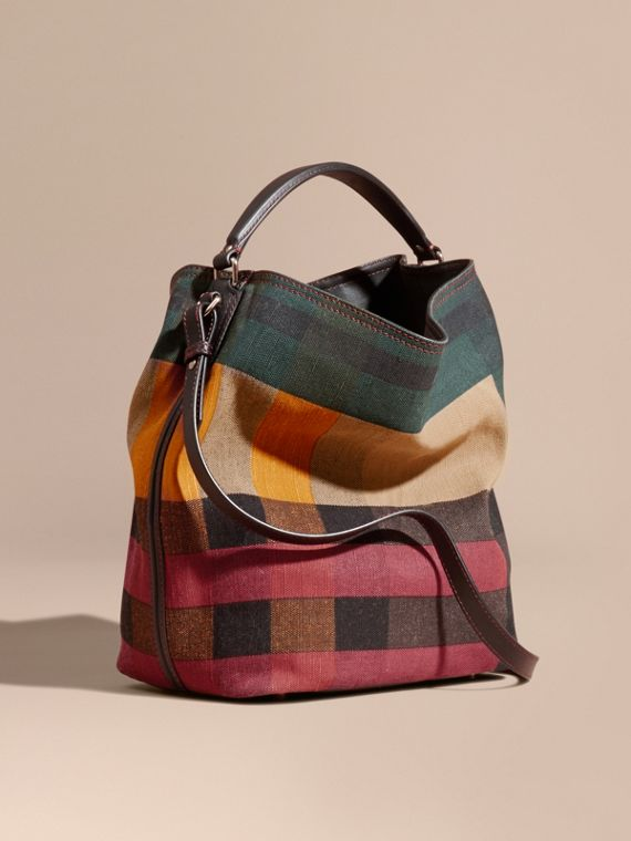The Medium Ashby in Printed Canvas Check and Leather