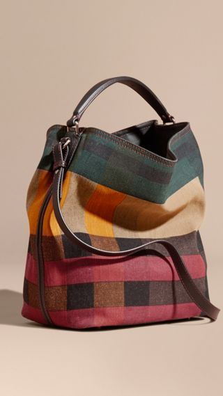 Sac The Ashby medium en toile Canvas check et cuir à imprimé