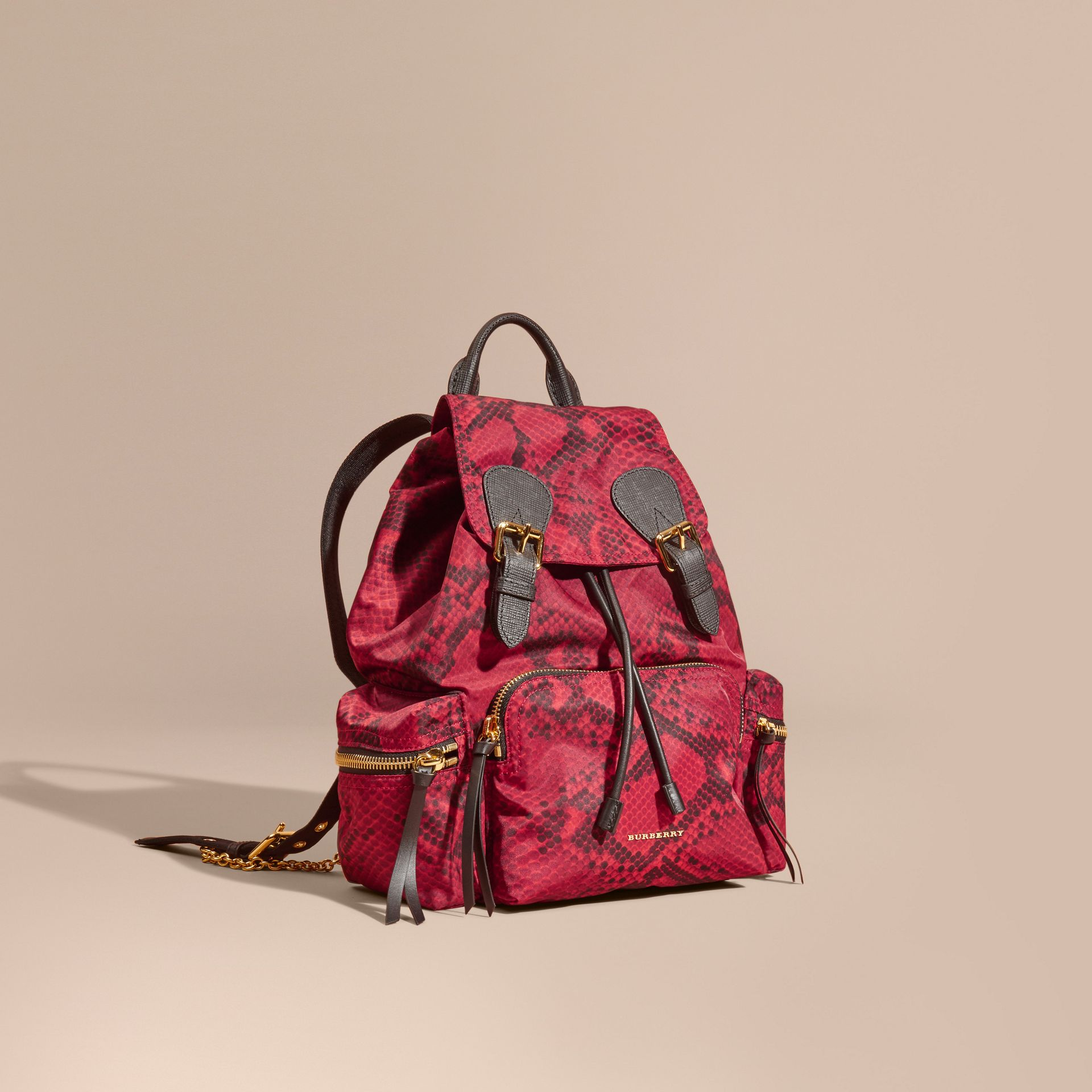 The Medium Rucksack in Python Print Nylon and Leather Burgundy Red - gallery image 1