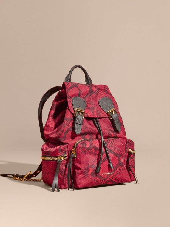 The Medium Rucksack in Python Print Nylon and Leather Burgundy Red
