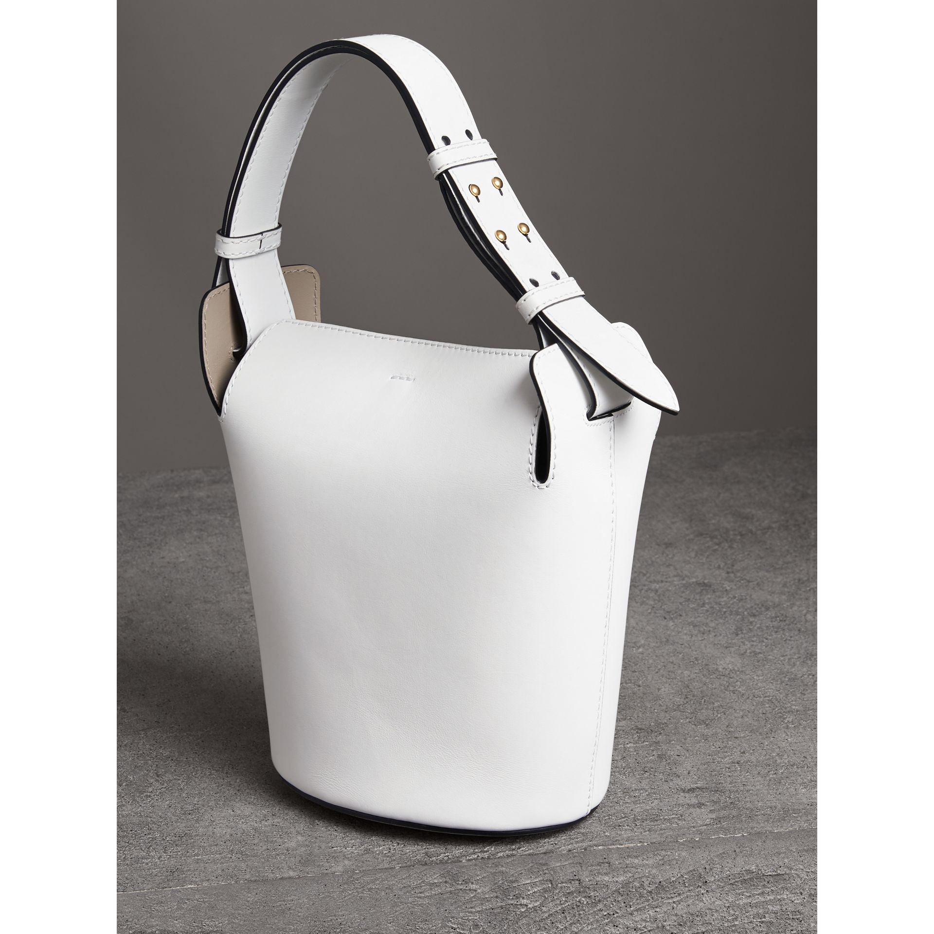 The Small Leather Bucket Bag in Chalk White - Women | Burberry - gallery image 3