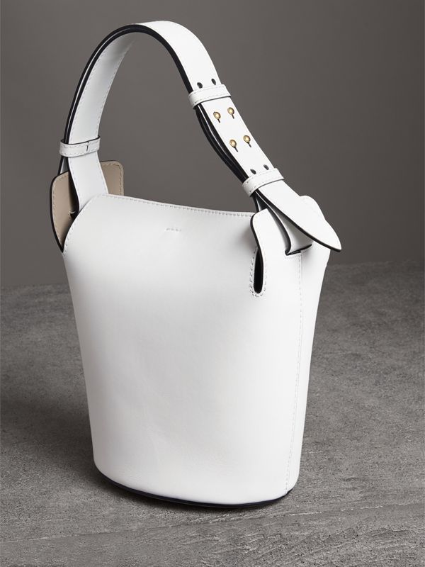 The Small Leather Bucket Bag in Chalk White - Women | Burberry Canada - cell image 3