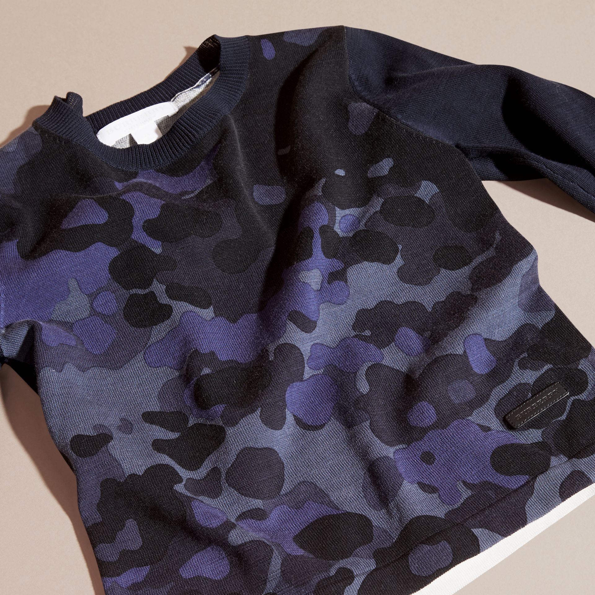 Navy Camouflage Print Cotton Crew Neck Sweater - gallery image 3