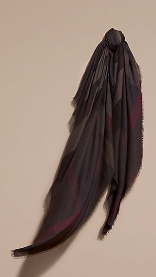 Lightweight Check Silk Modal Wool Square - Large