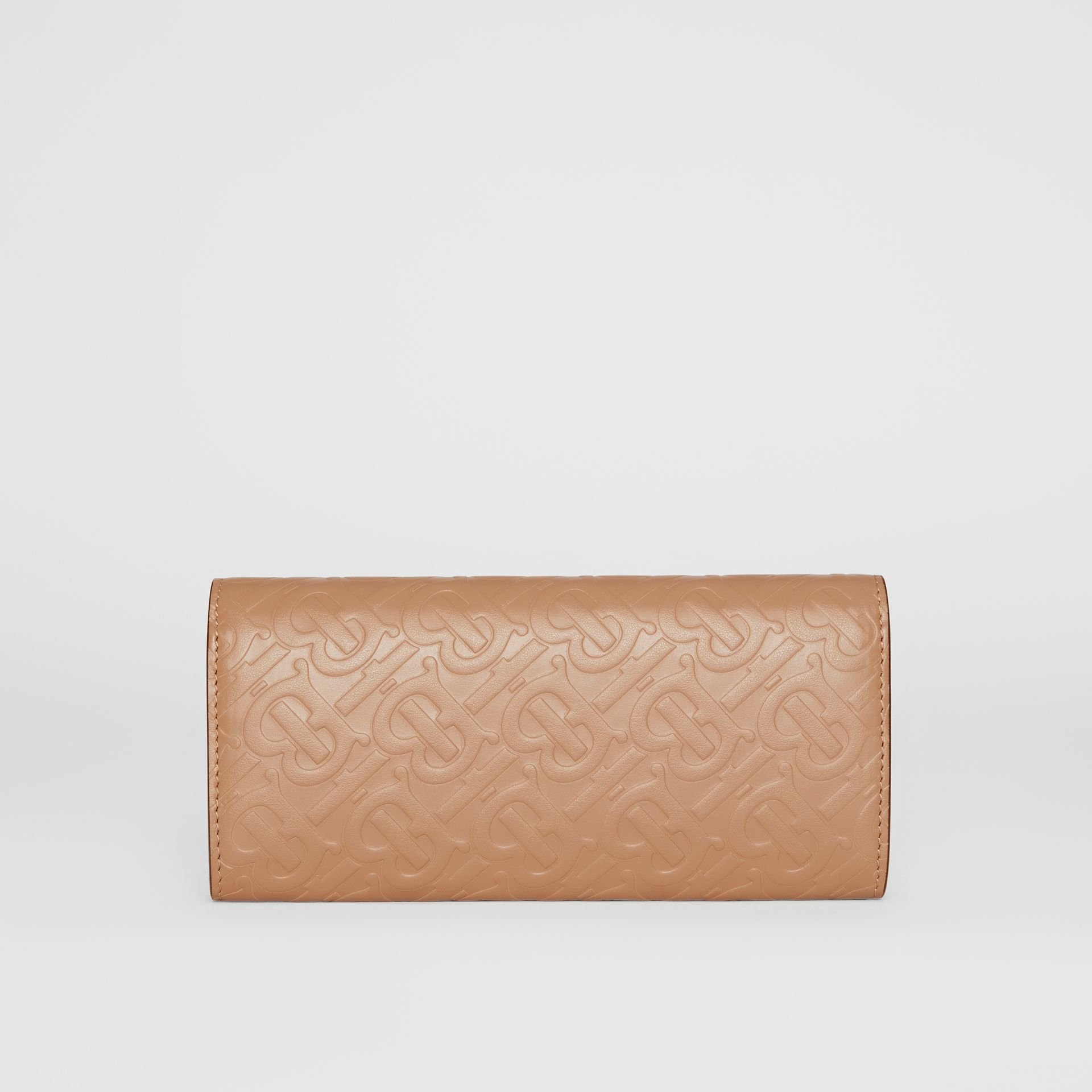 Monogram Leather Continental Wallet in Light Camel - Women | Burberry United Kingdom - gallery image 5