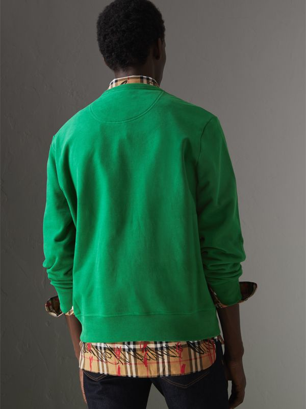 Fish and Chips Print Cotton Sweatshirt in Pigment Green - Men | Burberry - cell image 2