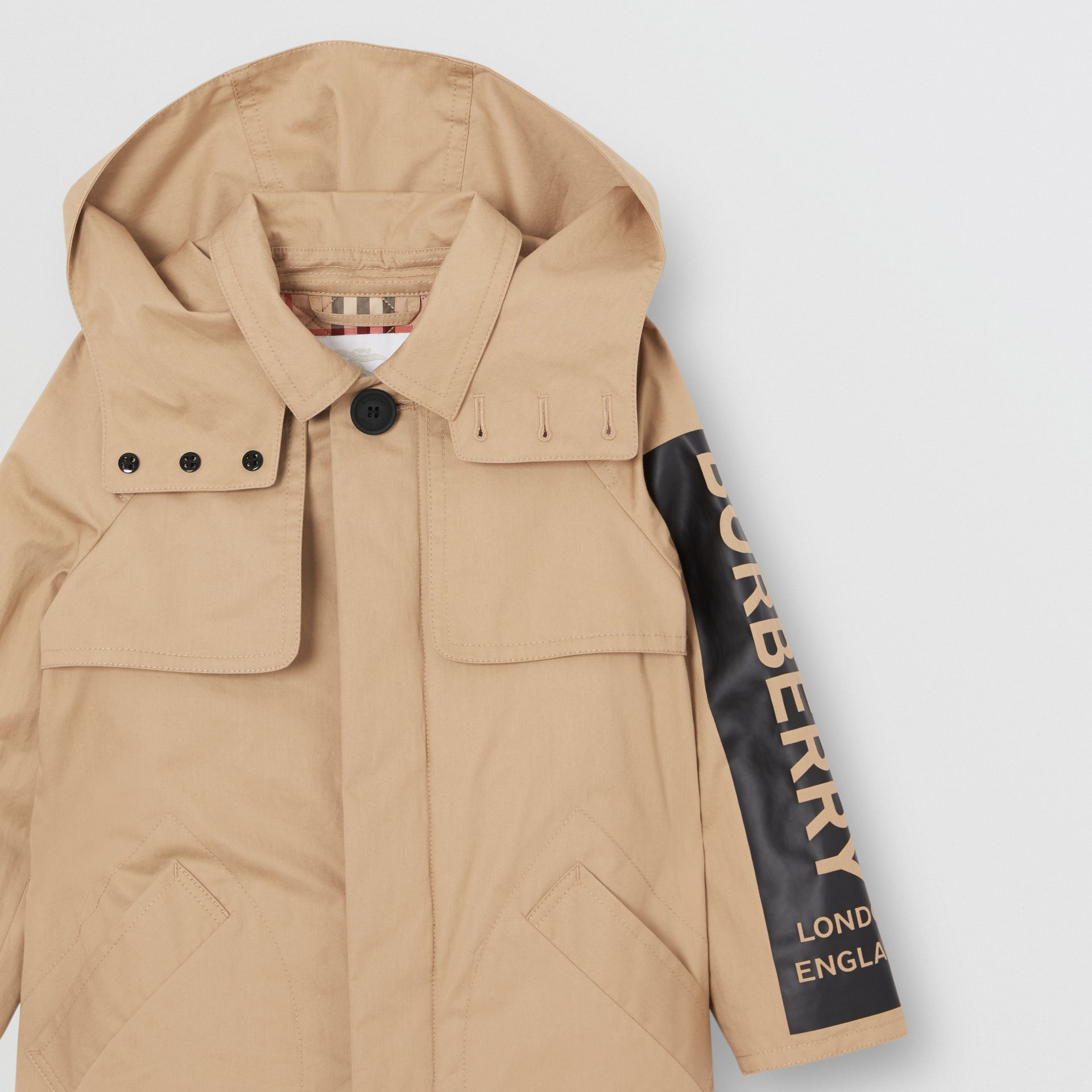 Detachable Hood Logo Print Cotton Twill Car Coat in Honey | Burberry United States - gallery image 4
