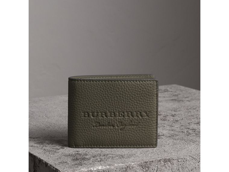 Textured Leather Bifold Wallet in Slate Green - Men | Burberry United Kingdom - cell image 4