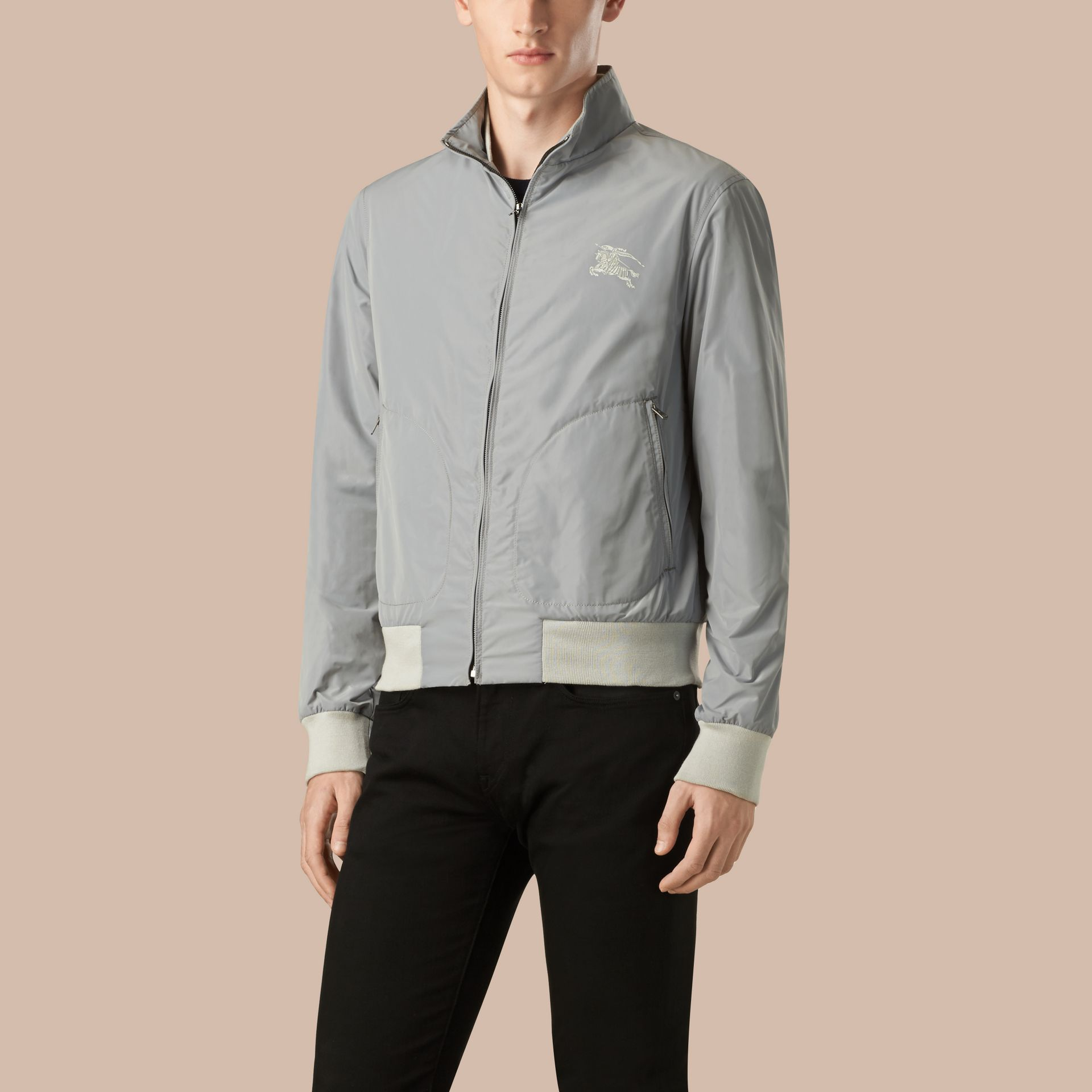 Light grey Zip Front Packaway Jacket - gallery image 3