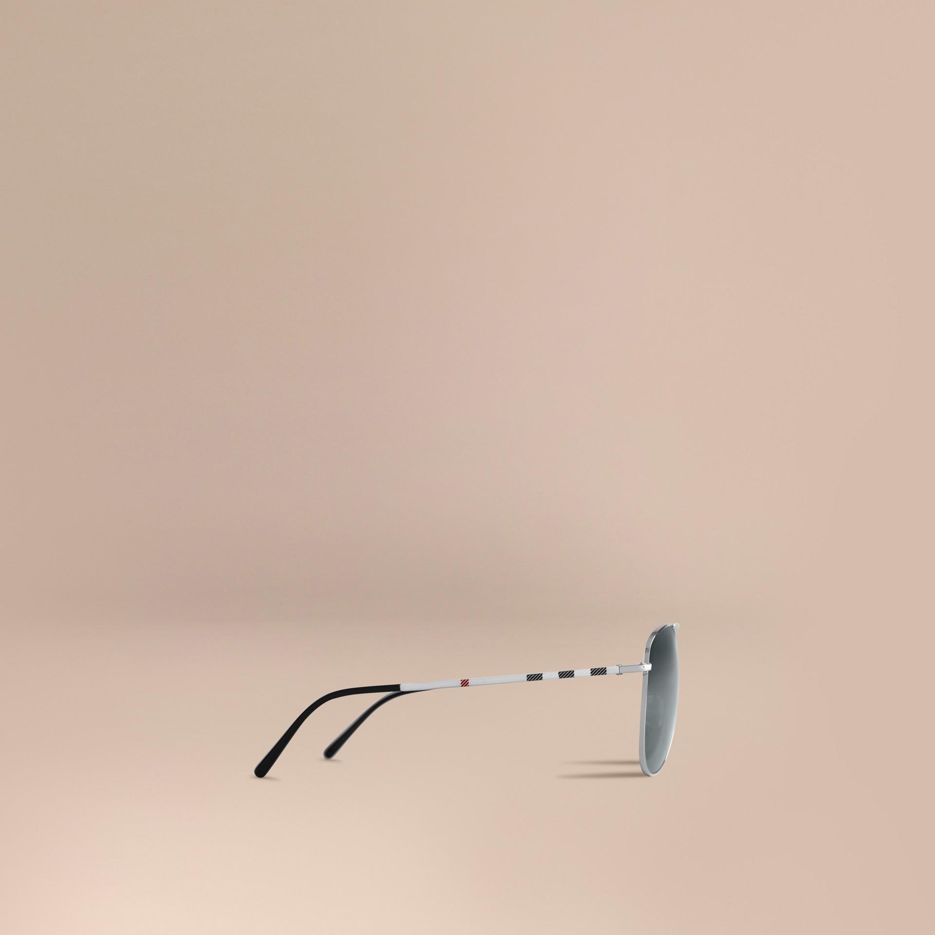 Silver Check Arm Aviator Sunglasses Silver - gallery image 5
