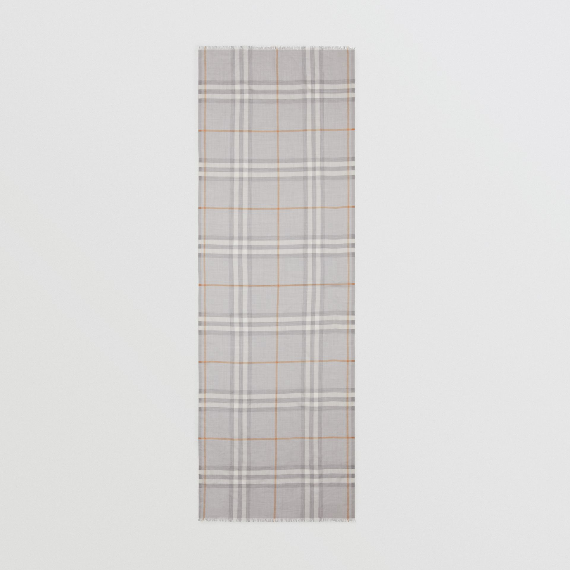 Lightweight Check Wool Silk Scarf in Light Grey | Burberry - gallery image 5