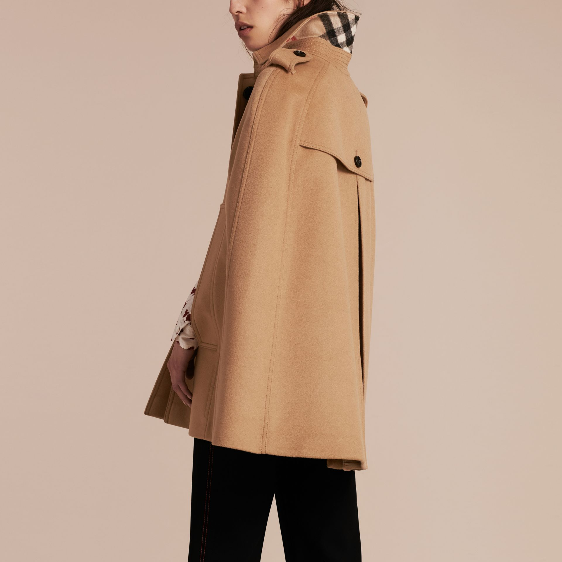 Camel Wool Cashmere Blend Trench Cape - gallery image 3