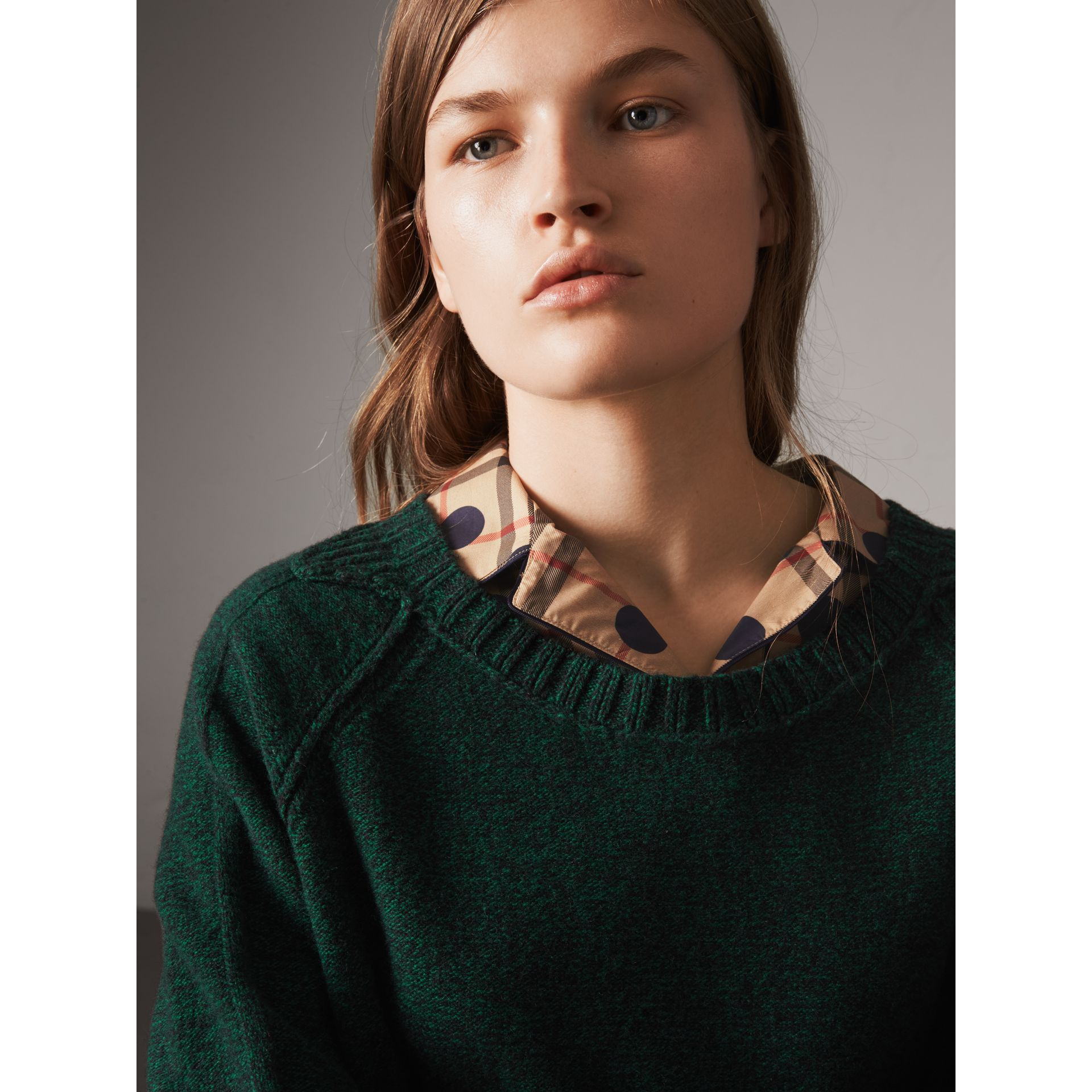 Melange Wool Sweater in Dark Forest Green - Women | Burberry - gallery image 2
