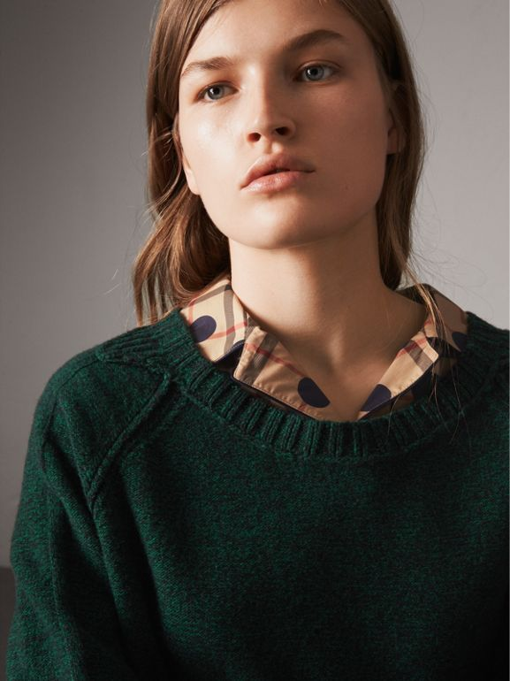 Melange Wool Sweater in Dark Forest Green - Women | Burberry - cell image 1