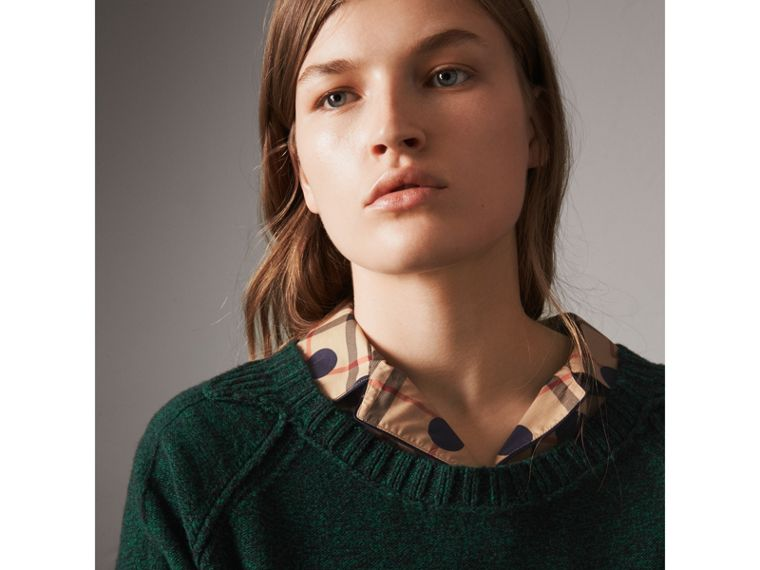 Melange Wool Sweater in Dark Forest Green - Women | Burberry United Kingdom - cell image 1