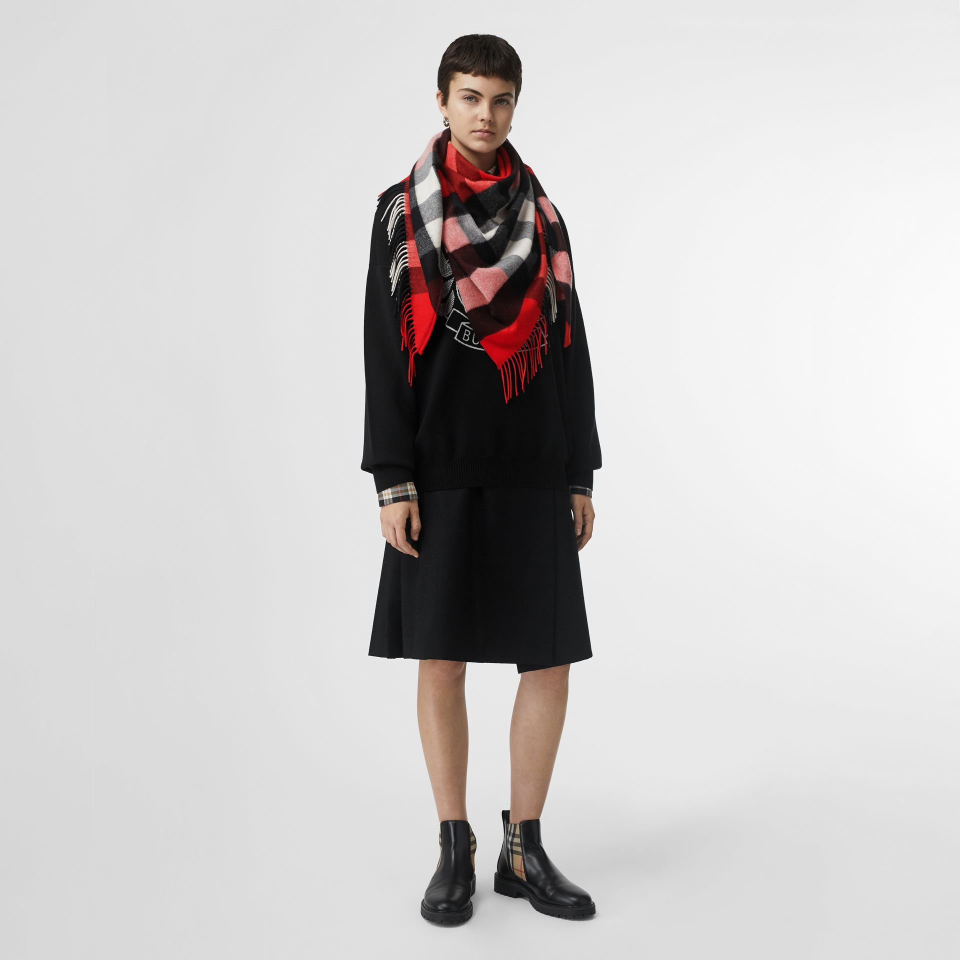 The Burberry Bandana in Check Cashmere in Bright Military Red | Burberry United Kingdom - gallery image 2